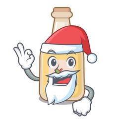 Santa bottle apple cider above cartoon table vector