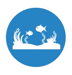 Seafloor scene isolated icon vector