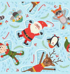 Seamless pattern with christmas characters vector