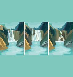 Set beautiful waterfall landscapes vector