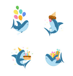 set cute shark character with balloon eating ice vector image