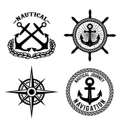 set of emblems with anchors design element for vector image