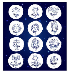 set of round zodiac signs vector image