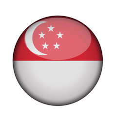 singapore flag in glossy round button of icon vector image