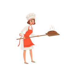 Smiling female baker character in uniform taking vector