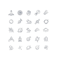 Space and astronomy line icons vector image
