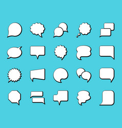 speech bubble simple black line icons set vector image