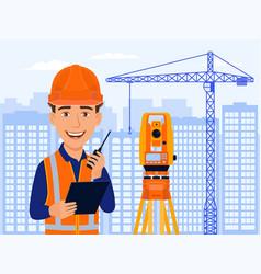 Surveyor cadastral engineer cartographer vector
