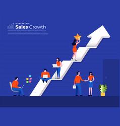 Teamwork building sales growth vector