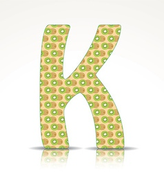 The letter K of the alphabet made of Kiwi vector