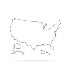 Thin line usa map with other territories vector