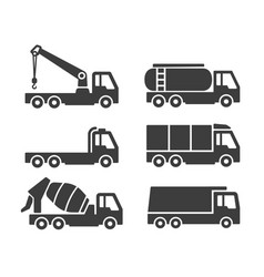 truck container icons set vector image