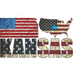 USA state of Kansas on a brick wall vector
