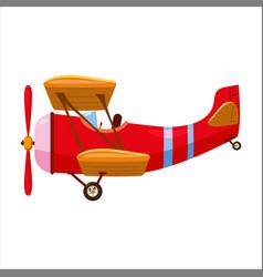 Vintage airplane biplane cartoon retro red colour vector