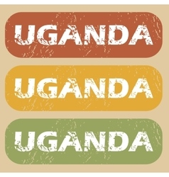 Vintage Uganda stamp set vector