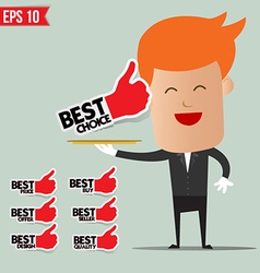 Waiter serving best label set - - EPS10 vector
