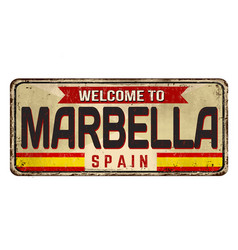 Welcome to marbella vintage rusty metal sign vector