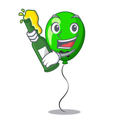 With beer green balloon on character plastic stick vector