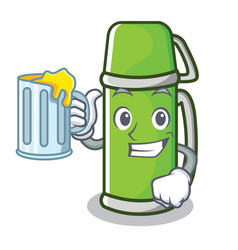 With juice thermos character cartoon style vector