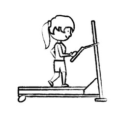 woman running on a treadmill vector image