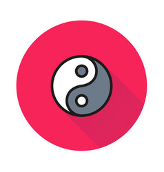 yin yang icon on round background vector image