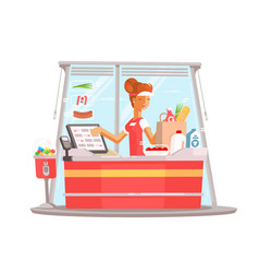 young girl cashier vector image