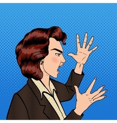 Angry shouting woman furious girl pop art vector