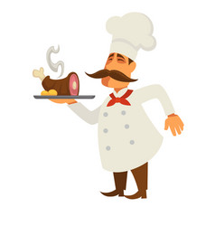 cook with lamb leg served at tray isolated on vector image