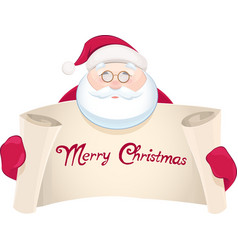 Santa Claus with greetings banner vector image