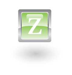 square glossy icon letter z vector image vector image