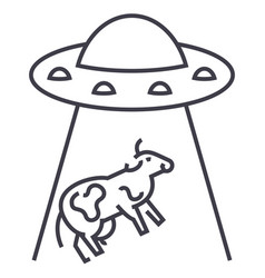 ufo invasion cow line icon sign vector image vector image