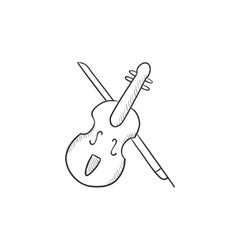 Violin with bow sketch icon vector image