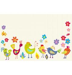 Funny Cartoon Color Birds vector image vector image
