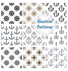 Nautical anchor wheel seamless patterns set vector image