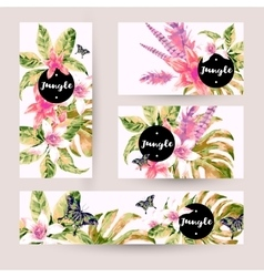 Summer set of cards with tropical green leaves vector image