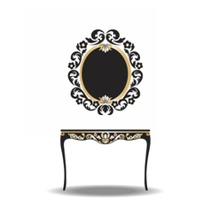 Vintage Baroque Furniture Table and Mirror vector image