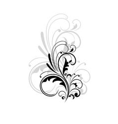 Vintage swirling foliate design element vector image vector image