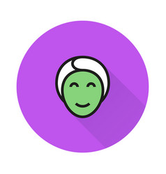 face mask icon on round background vector image vector image