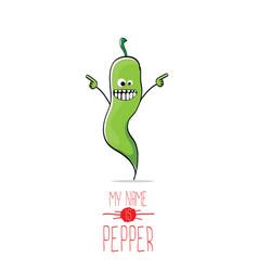 Funny cartoon green pepper character vector