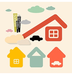 Houses and Cars Symbols Set vector image