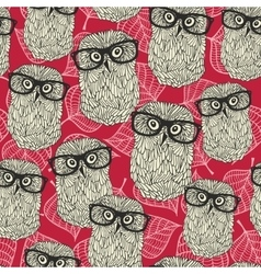 Seamless pattern with owls on the leaves vector image