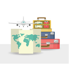 bags with map and airplane vector image vector image