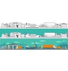 Logistic - warehouse ship truck car vector image