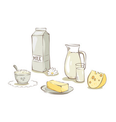 milk and dairy products - set vector image vector image