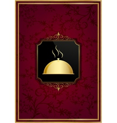 Red floral restaurant menu and golden frame vector image