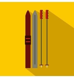 Ski icon flat style vector image