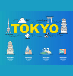 tokyo sightseeing tour with landmark icons in vector image vector image