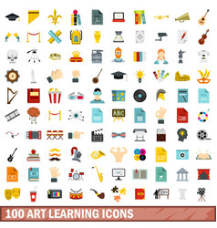 100 art learning icons set flat style vector image