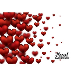 3D Realistic Red Hearts Background with Sweet vector image
