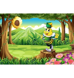 A bee with a pot above its head standing on a vector